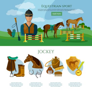 Equestrian sport infographics professional jockey horse riding