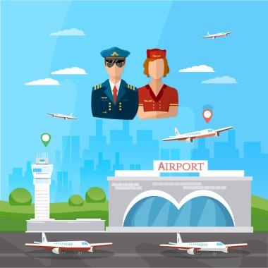 Airport pilot stewardess international airlines