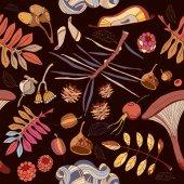 Fotografia Autunno senza cuciture autunno foglie, funghi
