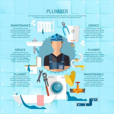 Plumbing service infographics professional plumber