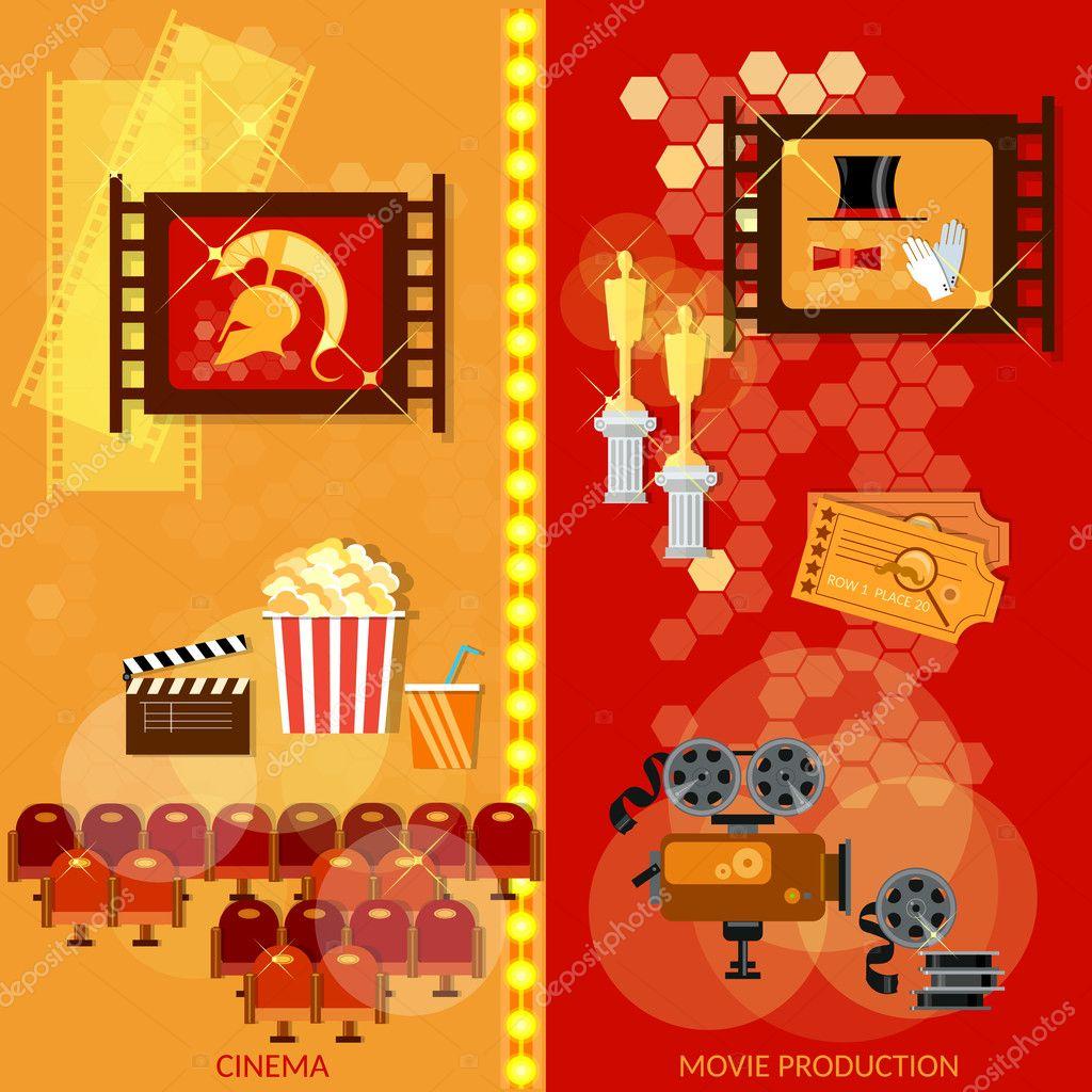 Kino-Banner-Film-Film-Industrie-Vorlage — Stockvektor © Matriyoshka ...