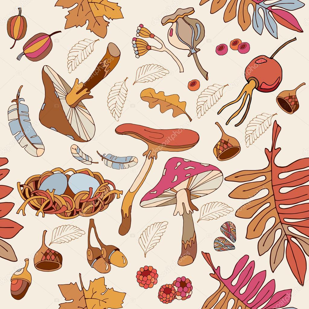 Autumn romantic seamless pattern