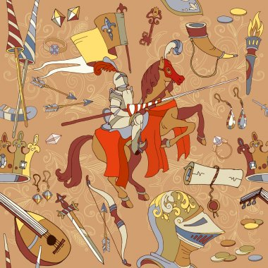 Medieval seamless pattern, knight on horse