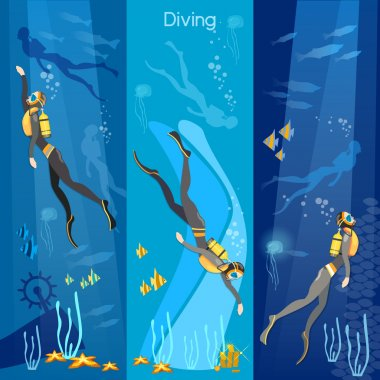Diving banner underwater people diver silhouettes vector