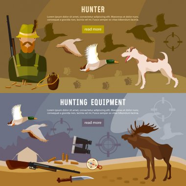 Hunting banners, hunter with rifle and dog in forest