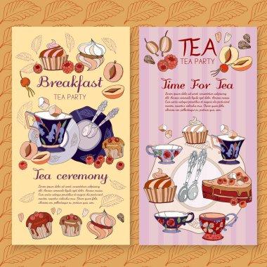 Tea menu design package time for tea and teapot, tea sweet