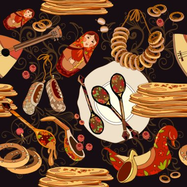 Russian cuisine seamless pattern. Russian food