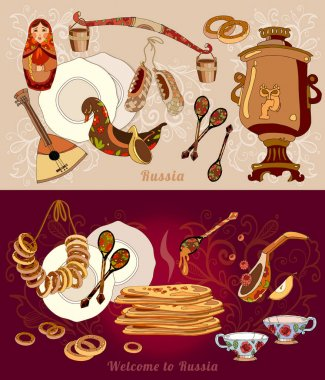Welcome to Russia banner. Traditional Russian cuisine