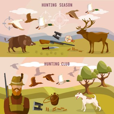 Hunting banners, professional hunting club, duck hunting