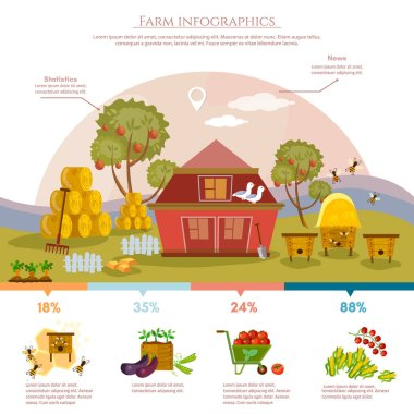 Farm infographics natural food agricultural objects flat vector