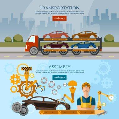 Car assembly line process banner, car transport truck