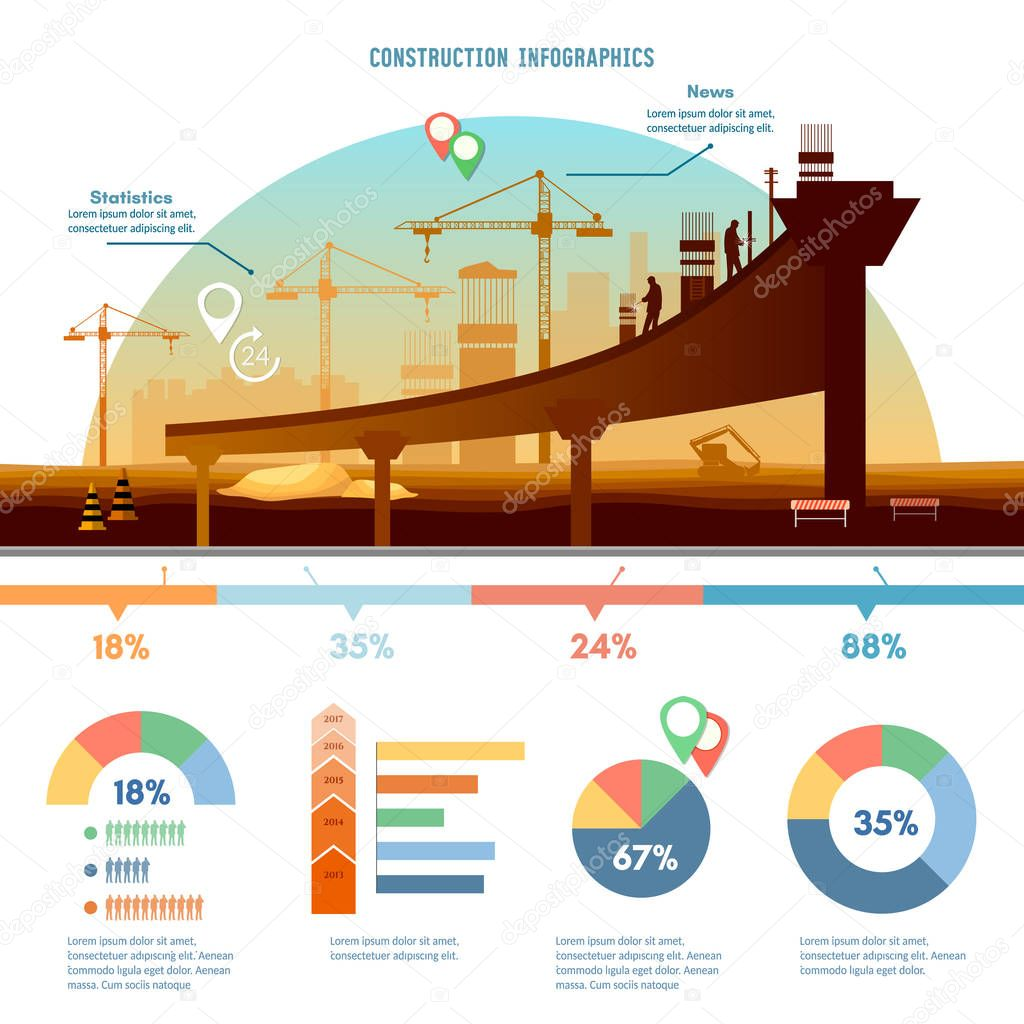 Construction infographics big construction site stock for Construction info