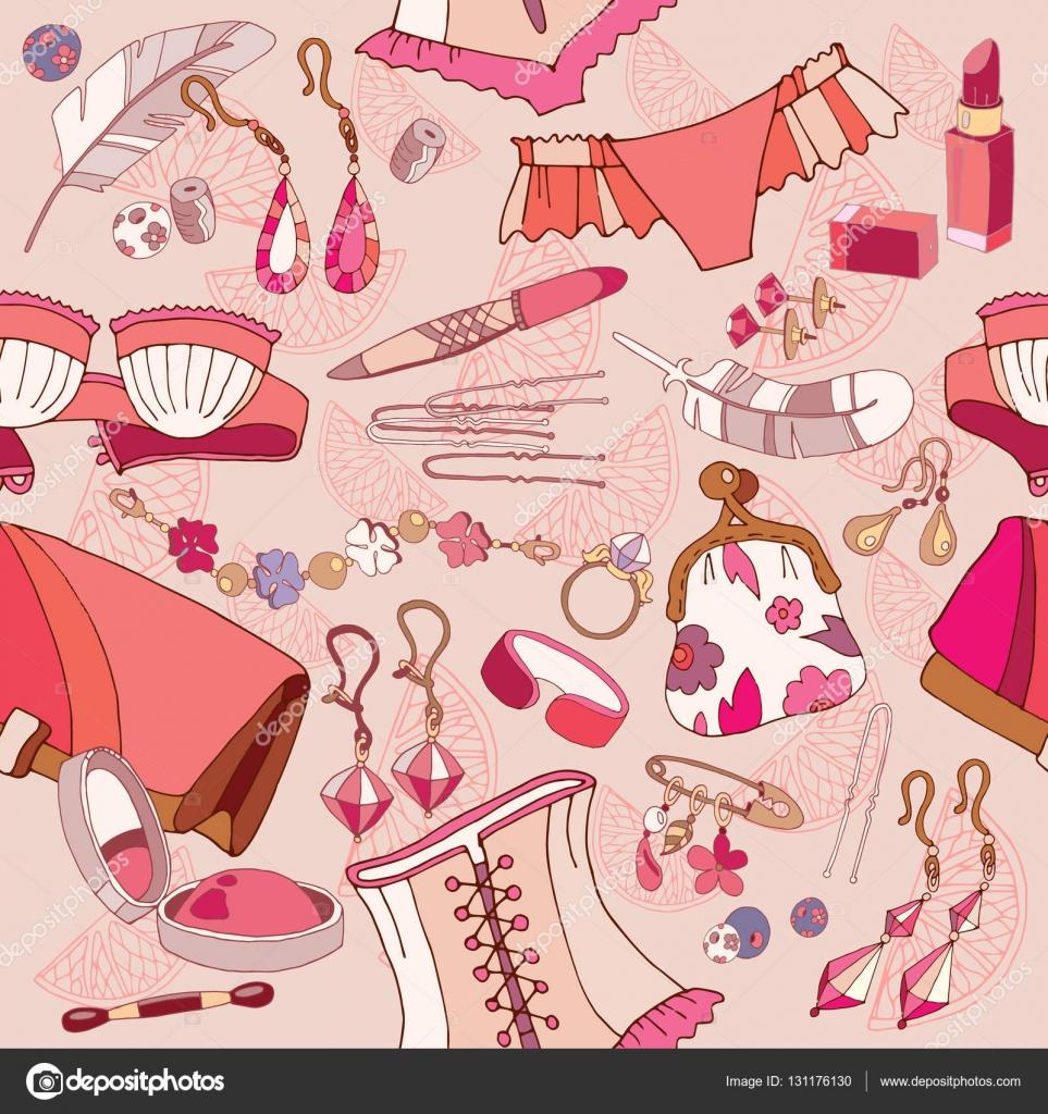 96654aaa9f125a Жінка модні аксесуари, косметику, покупки ювелірних виробів, фон вектор —  Вектор від Matriyoshka