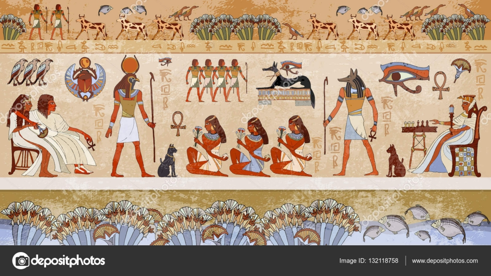 Escena De Egipto Antiguo Jeroglificos Murales Antiguo Egipto