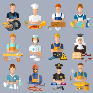 Collection professions. Auto mechanic, cook, carpenter