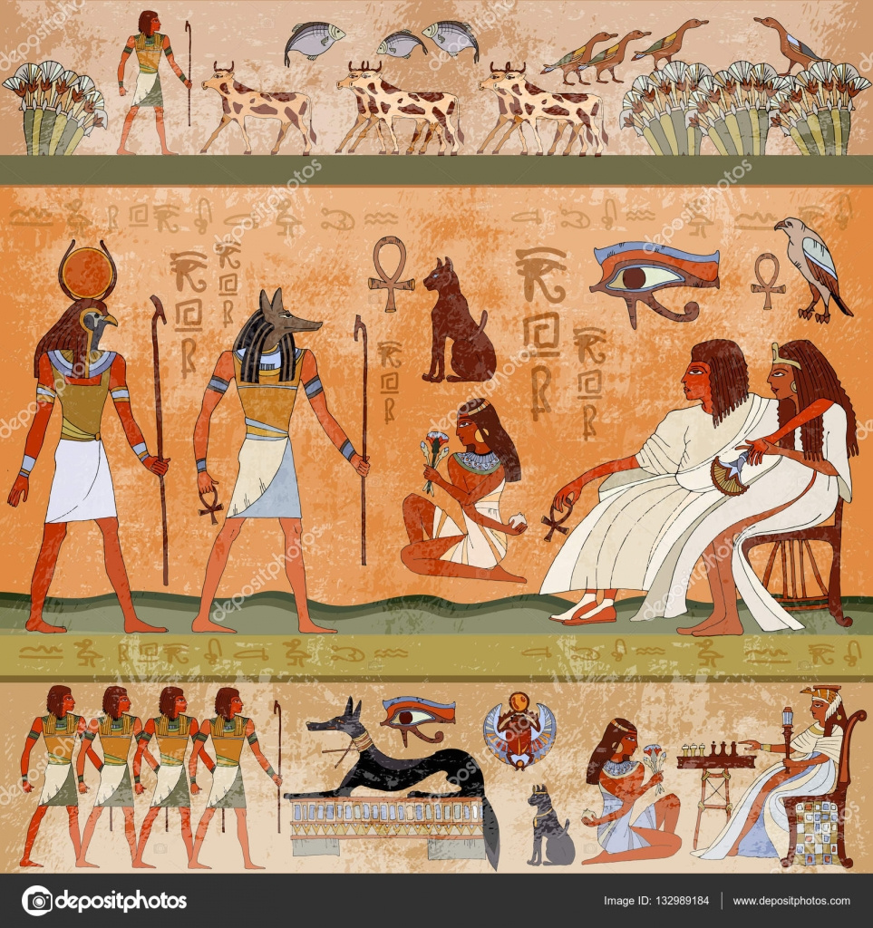 Ancient egypt scene murals ancient egypt hieroglyphic for Ancient egyptian mural