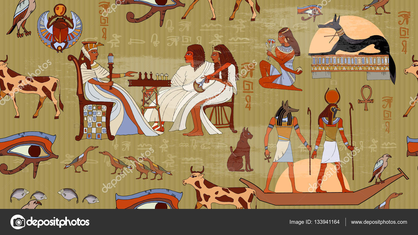 Ancient egypt seamless pattern murals ancient egypt for Mural egipcio