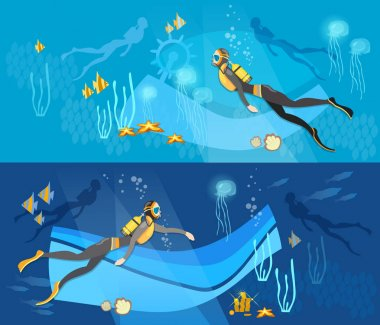 Diving banner, underwater people, diver silhouettes