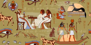 Ancient Egypt seamless pattern. Murals ancient Egypt