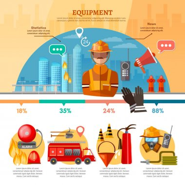 Professional firefighters infographic, equipment fireman, fire station, fire alarm in building, vector illustration clip art vector