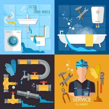 Plumbing service set. Professional plumber, different tools