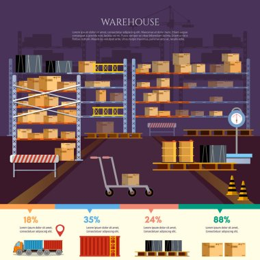 Warehouse infographic, interior box on rack and warehouse