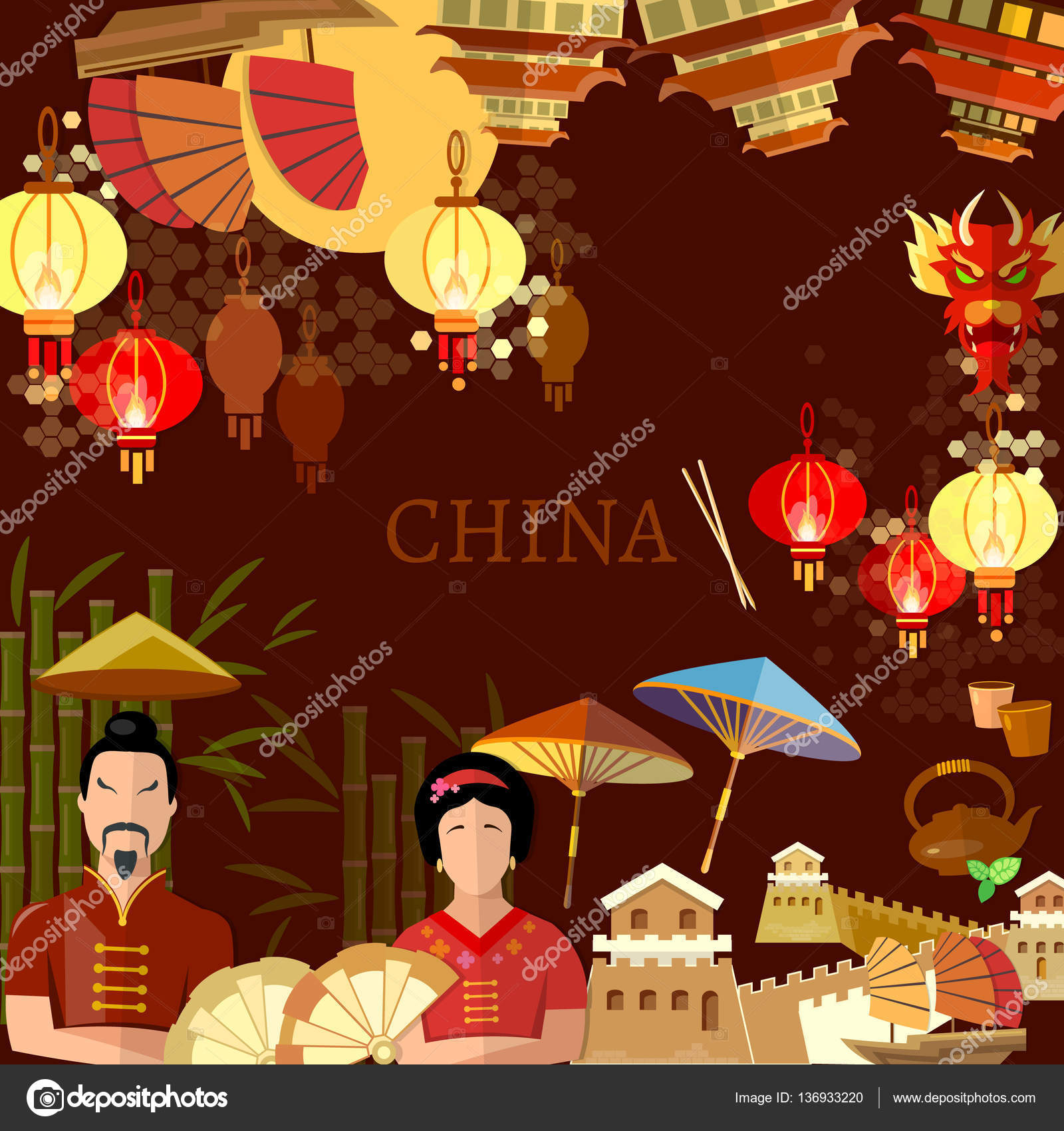 travel to china background chinese traditions and culture stock vector