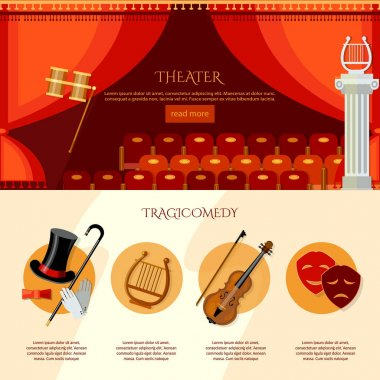 Theater infographics, comedy and tragedy. Theater curtain