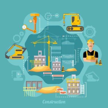 Construction site industrial concept. Construction process