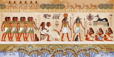 Egyptian gods and pharaohs. Ancient Egypt scene, mythology