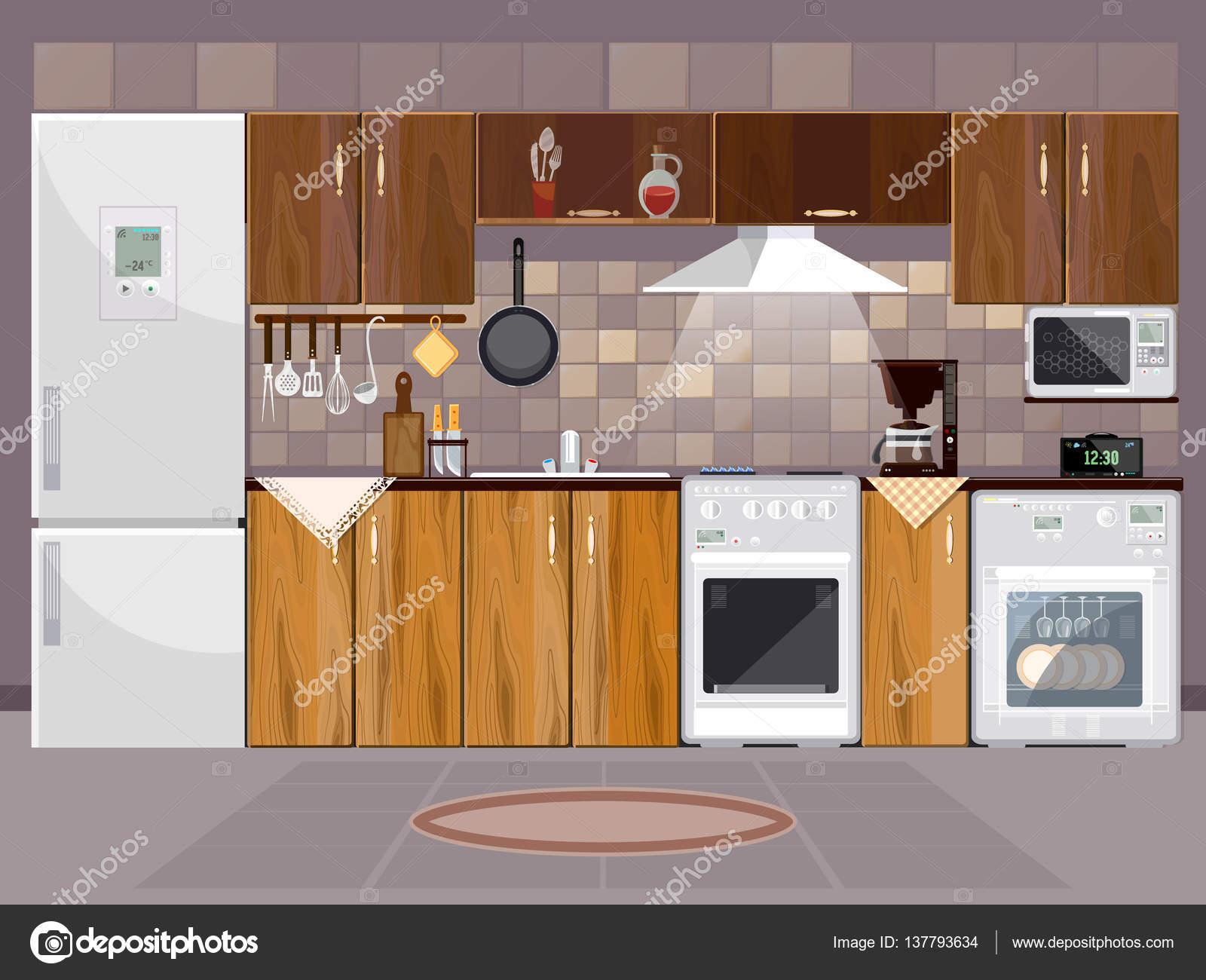 Interior de cocina con muebles. Frigorífico, microondas, estufa ...