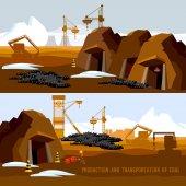 Uhelného dolu nápis, proces těžby uhlí, buldozery, dopravník
