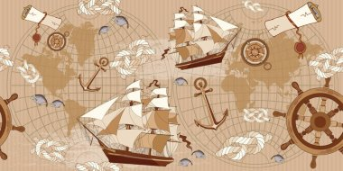 Old map seamless pattern. Vintage compass, sailboat, anchor
