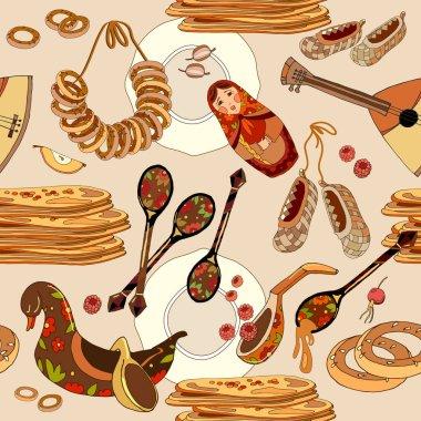 Russian cuisine seamless pattern. Hand drawn Russia