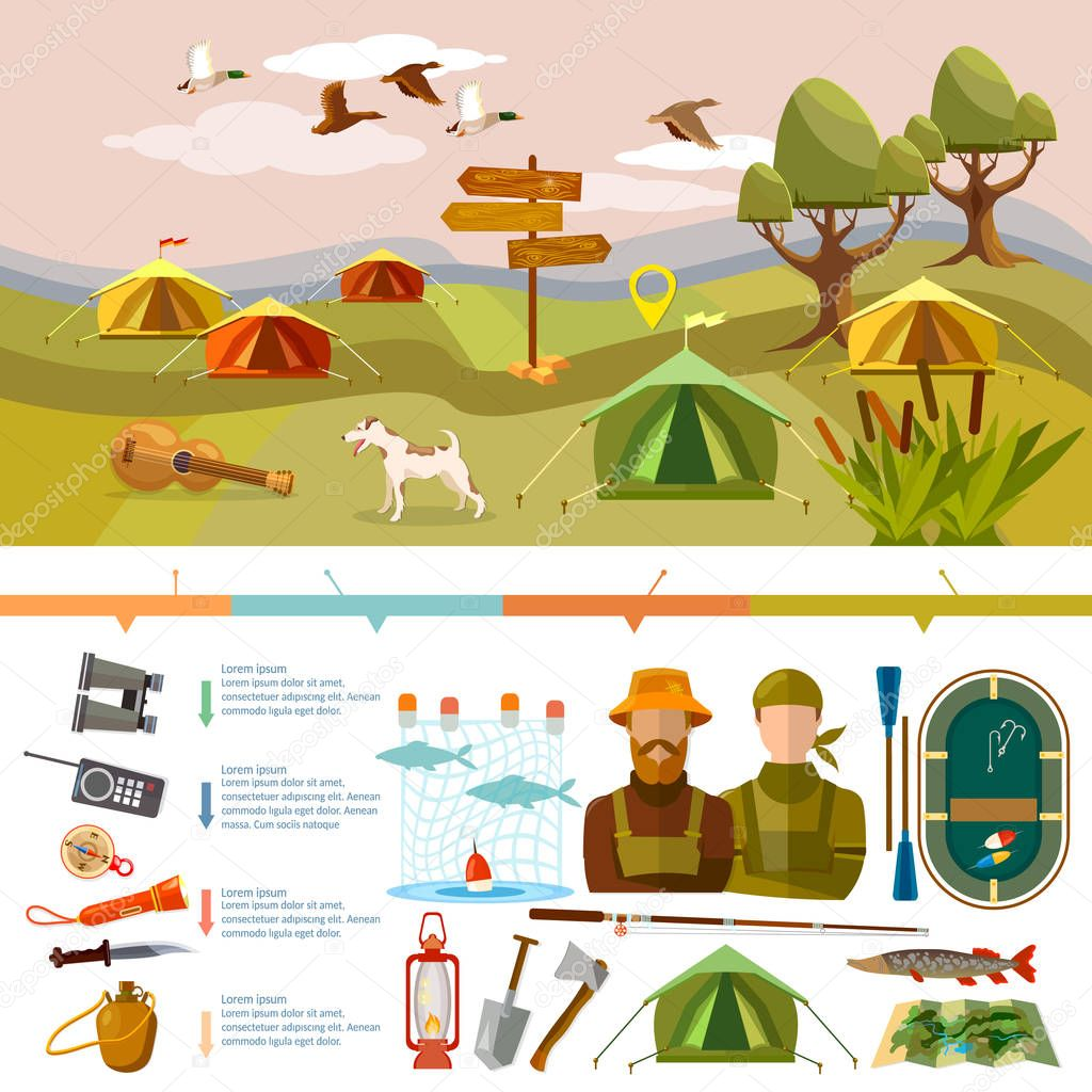 Outdoor recreation infographics. Fishing, hunting, camping. Tourism and hike infographics. Outdoor presentation design stock vector