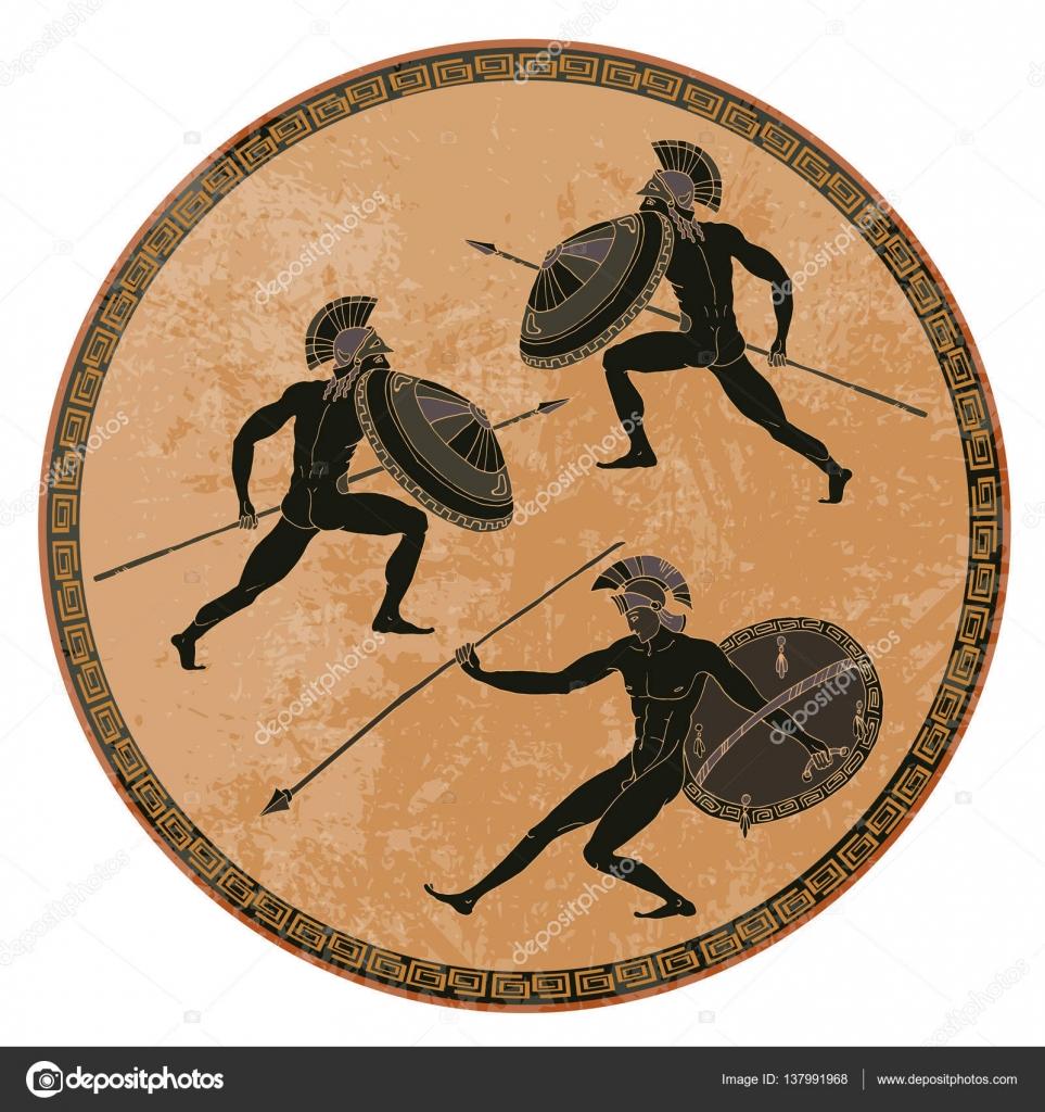 Soldati greci antichi ceramica a figure nere antica for Vasi antica grecia