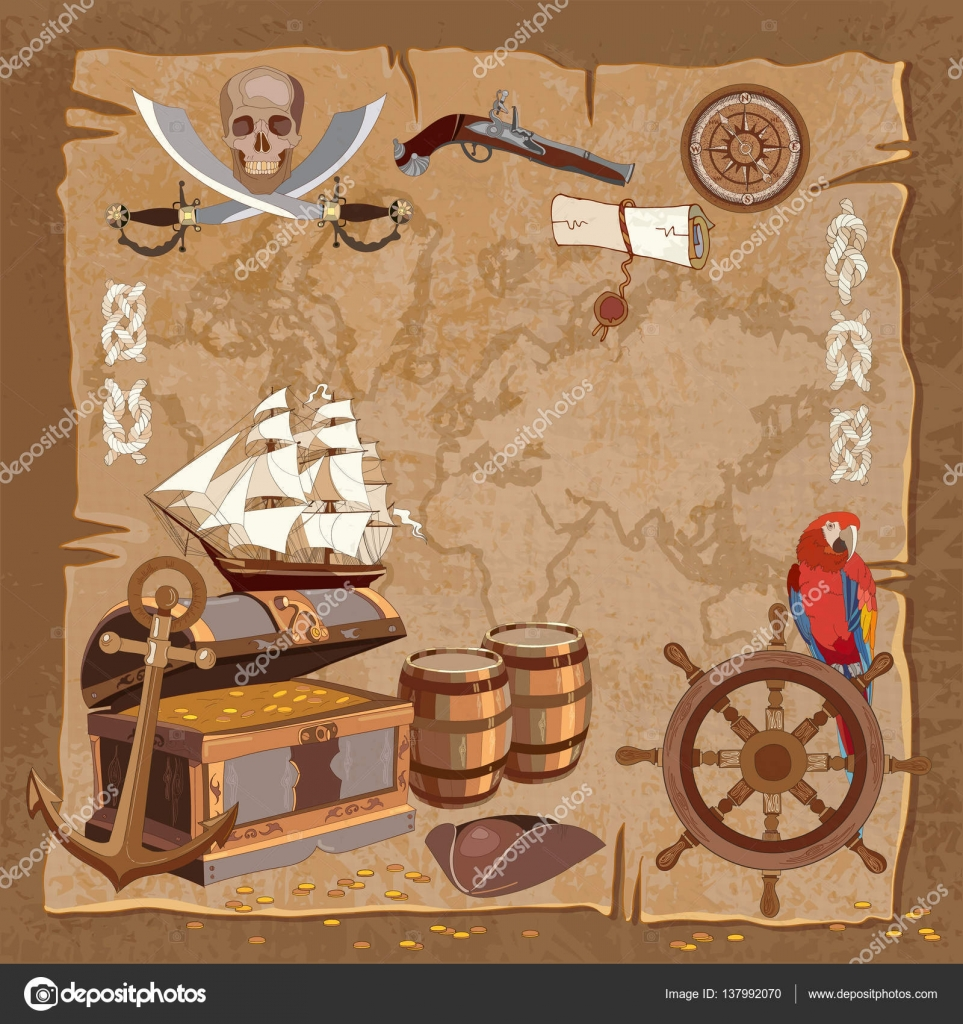 old pirate treasure map adventure stories background u2014 stock