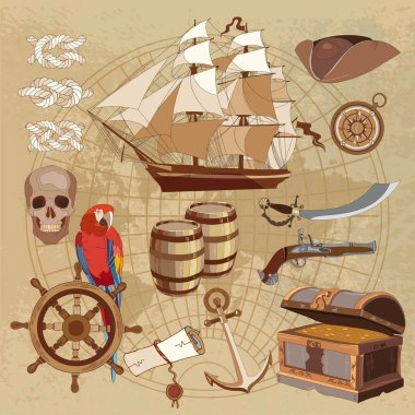 Old pirate treasure map. Treasure chest, parrot, steering wheel
