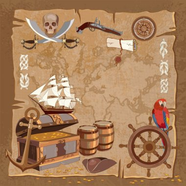 Old pirate treasure map. Adventure stories background