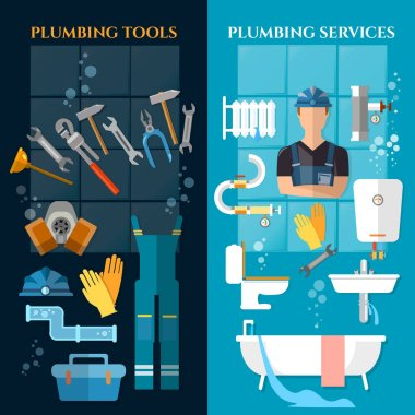 Plumbing service banner. Plumber different tools and accessories