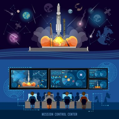 Mission Control Center, start rocket in space. Modern space