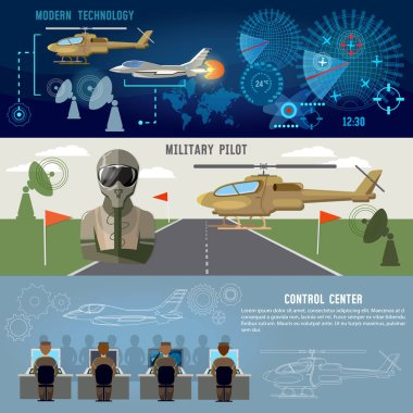Army air force banner, planes and helicopters, military pilot