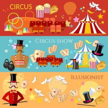 Circus banner, performance strongman magician magic tricks