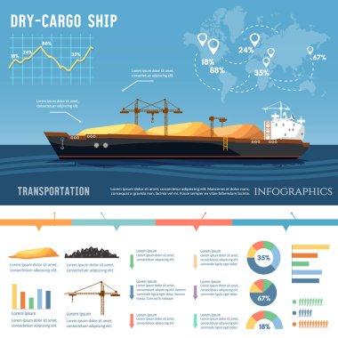Cargo ship. Tanker, cargo ship transports coal, sand