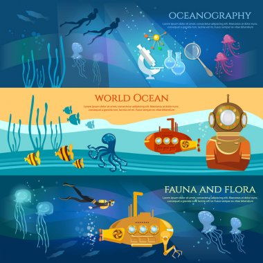 Oceanography. Sea exploration banner