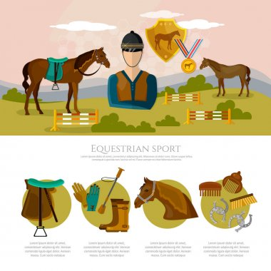 Equestrian sport infographics horse riding professional jockey