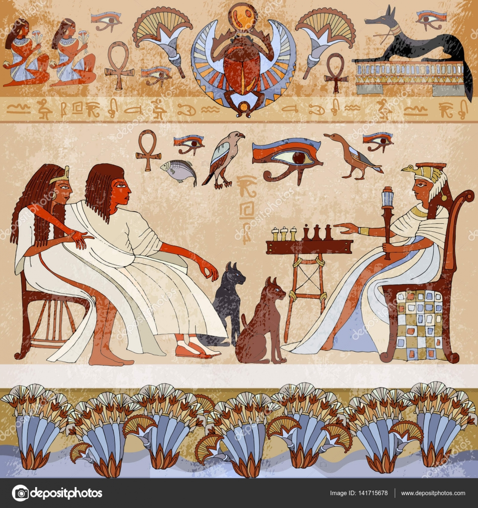 Murals Ancient Egypt.scene. Egyptian Gods And Pharaohs. Hieroglyphic  Carvings On The Exterior Walls Of An Ancient Egyptian Temple U2014 Vector By  Matriyoshka Part 68