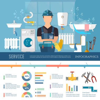Professional plumber infographic