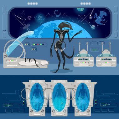 Alien monster in a spaceship. Astronauts in cryogenic cameras