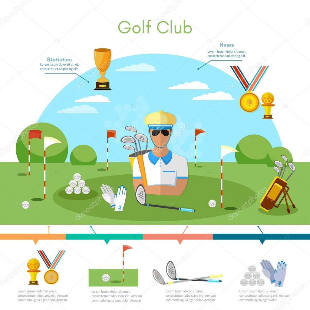 Golf sports championship infographic elements, playing golf